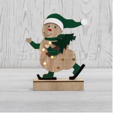 Деревянная фигурка с подсветкой «Снеговик» 18 см NEON-NIGHT