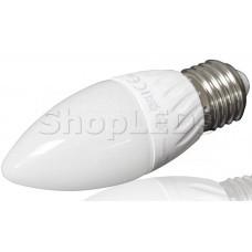 Светодиодная лампа YJ-C37-6W (220V, E27, 6W, 450 lm, свеча) (теплый белый 3000K)